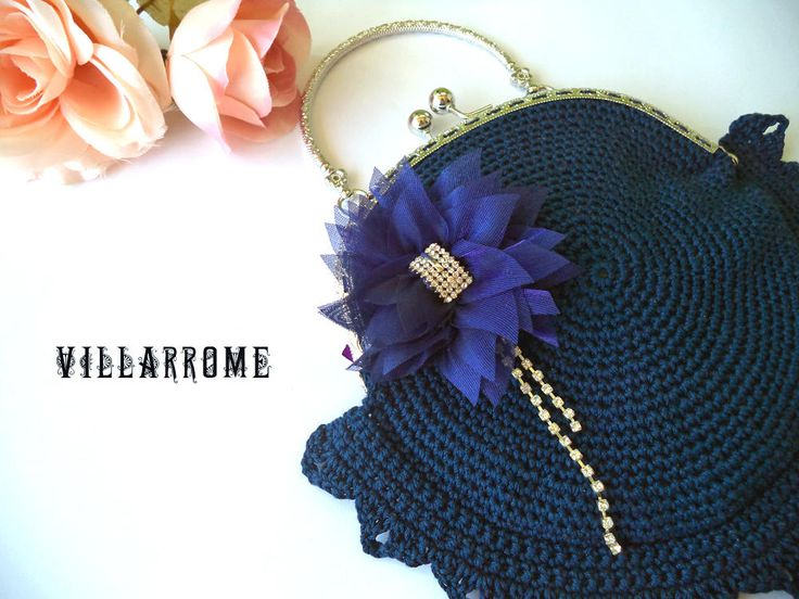 Bolso azul marino romántico, hecho a mano, ganchillo, noche, boda, fiesta, bohemio, algodón azul, boquilla plateada, flor azul, tul