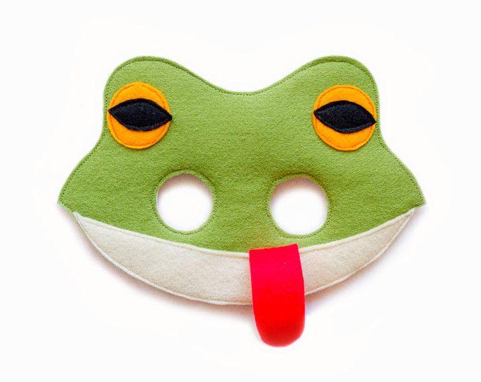 Frog mask, felt green frog mask, children frog costume, adult toad mask, Forest party favor, frog pretend play, Halloween costume, dress up