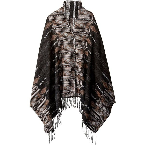 Woolrich Women's After Dark Ikat Button Wrap Poncho ($39) ❤ liked on Polyvore featuring outerwear, wrap poncho, button poncho, style poncho, woolrich and striped poncho