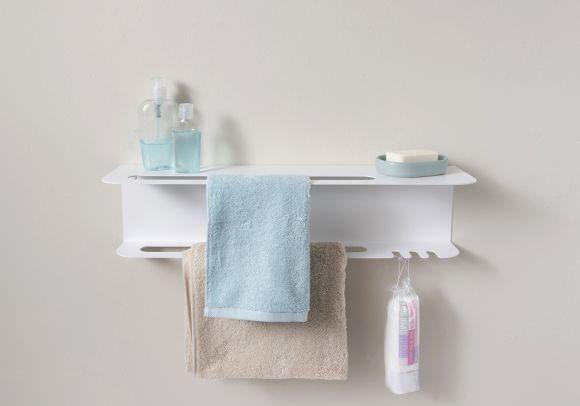 Towel Rack Teetow 23 Inch In 2020 Towel Rack Bathroom Storage Solutions Shelves