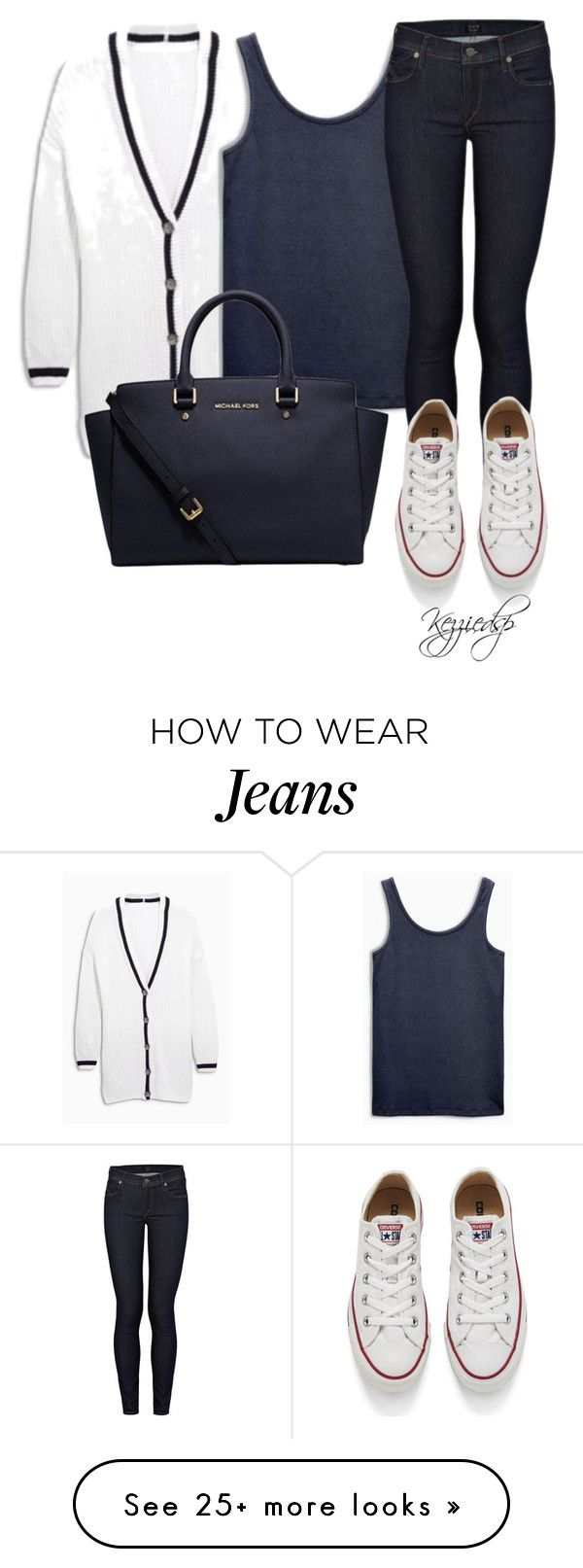"""Next cricket cardigan"" by kezziedsp on Polyvore featuring Citizens of Humanity, Converse, Michael Kors, women's clothing, women, female, woman, misses and juniors"
