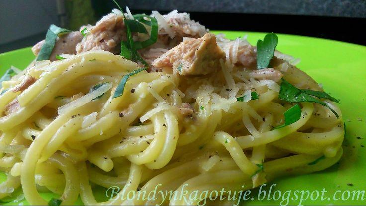 Blondynka Gotuje: Spaghetti a`la Carbonarra z Tuńczykiem