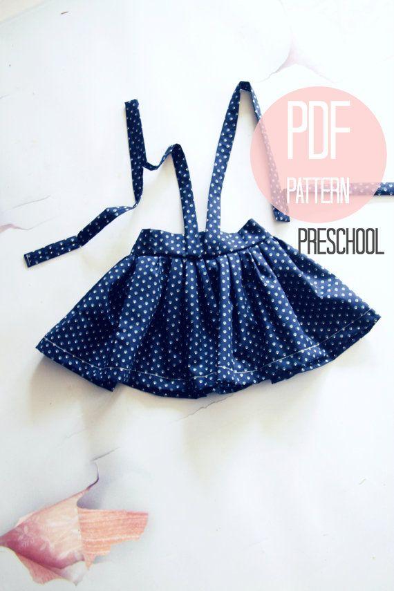 Girls Skirt Pattern Suspender High Waist Vintage by FleurandDot