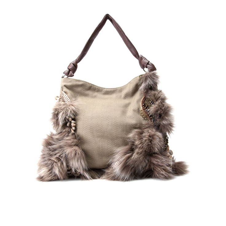 AURANTIUM CAMEL    -Cotton and leather in 2 styles.  -Hand decorated with fox fur, metal and glass beads. Silver hardware.  -Magnetic fastening at front flap.  -Internal zip-fastening pocket.  -Fully lined.