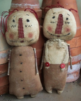 PatternMart.com ::. PatternMart: Raggedy Browns Annie and Andy Primitive dolls 144pm SALE: