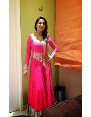 Madhuri Dixit Style Pink Long Anarkali Suit Rs.7,400