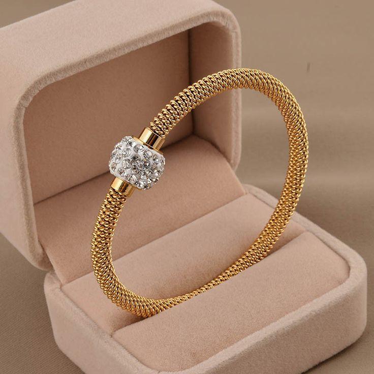 Di Alta Qualità di modo di Fascino Chic Gioielli Regalo di San Valentino In Acciaio Inox Oro Donne Distorcere Bracciali e Braccialetti