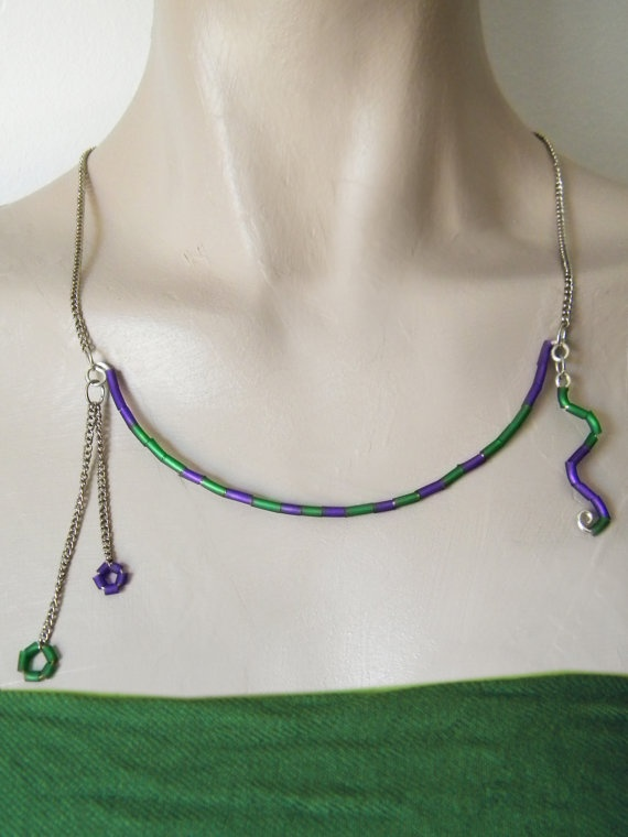Green purple stripes necklace rubber minimal bib by BlackRedDots, $23.00