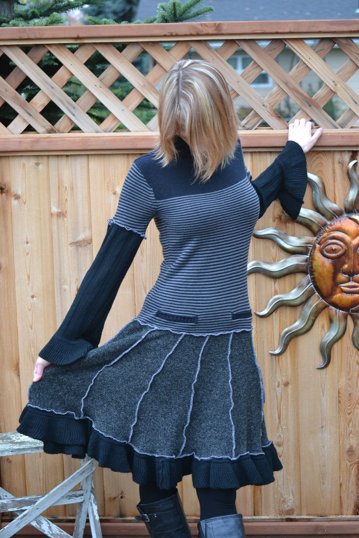 Hag Rags.....OOAK......Recycled Sweater Dress......Wednesday....... $150.00, via Etsy.