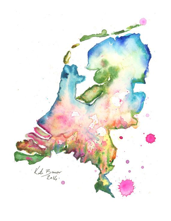 "Holland Map - Netherlands Map 8.5 X 11"" and up - Watercolor print"