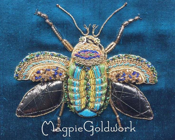 Goldwork Beetle. Made by magpieGoldwork