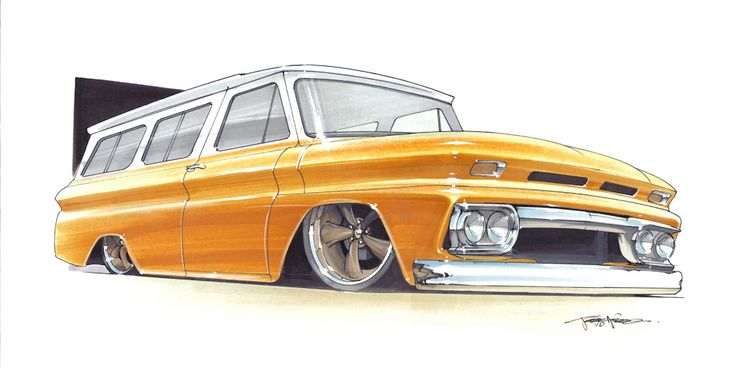 Rob's 1966 Chevy Suburban hot rod rendering by 1320 Designs