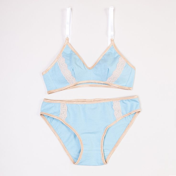 Pool Blue Tan Lace Organic Cotton Lingerie - View All :: Brook There