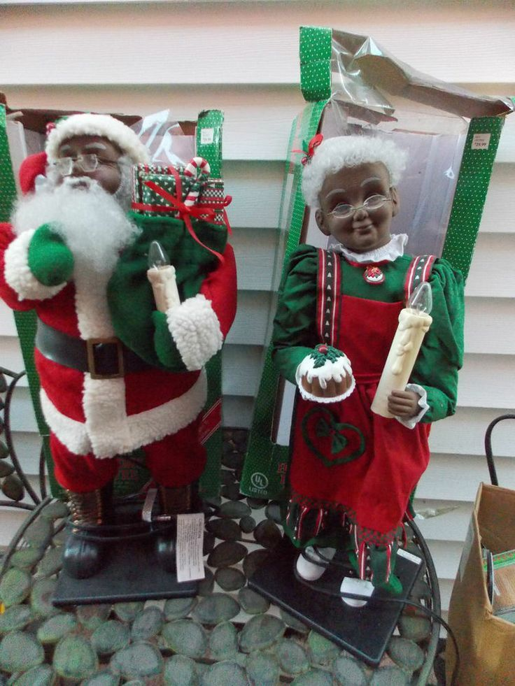 Superior Mrs Claus Christmas Decorations Part - 6: Holiday Creations Motion Animated Santa U0026 Mrs. Claus Black African Amu2026