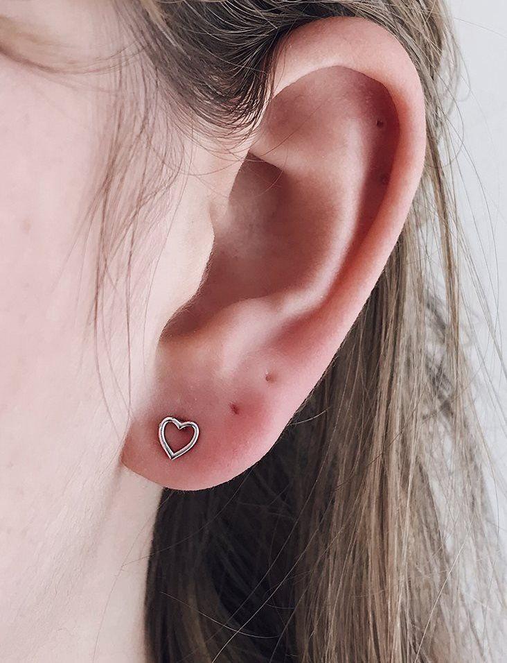 cdf46bd3b Cartilage Heart Earring Tragus stud Post Earrings, Sterling Silver Heart  Helix Daith Rook Ear Hoop Conch Snug, Women's Trendy Christmas gift   Body  Piercing ...