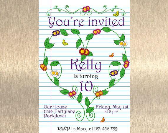 Flower Birthday Invitation Garden Birthday by JennyIllustrations