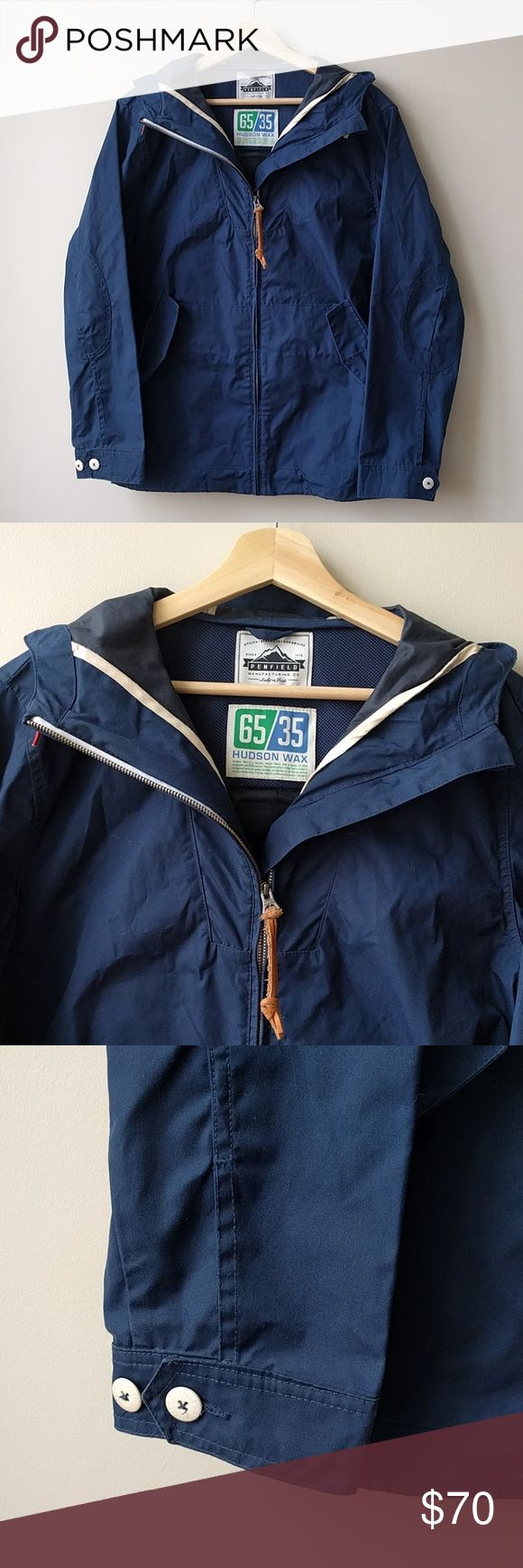 Penfield Mens Wax Jacket Navy Blue Hood Penfield Mens Wax Jacket Navy Blue Hood  Please note that there are no buttons on front pockets.  All measurements are done with the garment laying flat on a table and measured straight across.  Size: Medium Color: Navy Armpit to armpit: 22 inches Sleeve (mid back to end of sleeve): 33.5 inches Length (shoulder to bottom hem): 30 inches  Feel free to ask questions! I want to make sure you're getting what you want :)  Like what you see? Check out my…