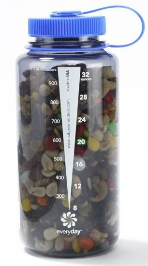 Keep your trail mix in a water bottle with a large opening, and you can snack even when your hands are dirty