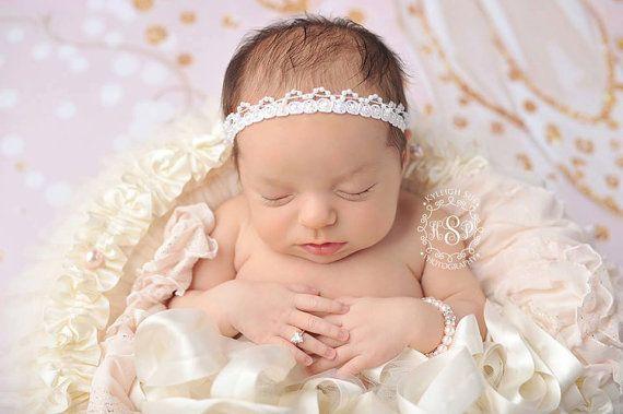 Newborn Headband Pearl Crown White Halo Photo by cutiepiegoodies