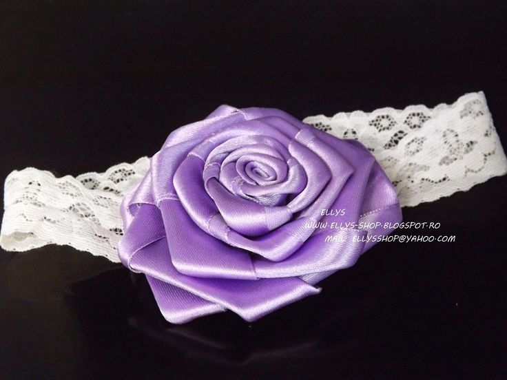 Ellys Shop: Bentita cu trandafir mov lucrat manual din saten s...