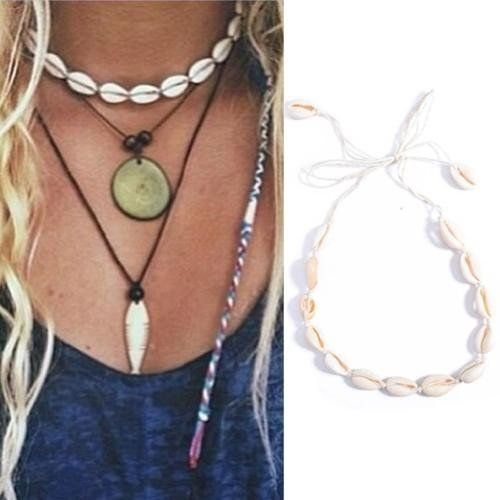 Cowrie Shell Choker Natural Mermaid Jewelry Adjustable Tie Seashell Necklace Festival Favorite