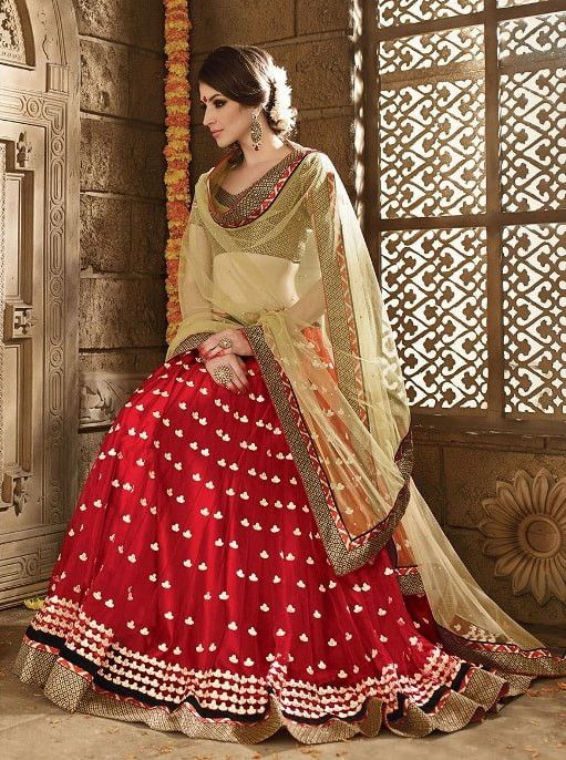 Red Netted Indian Bridal Lehenga Choli Designs #indiandresses #indianweddingdresses