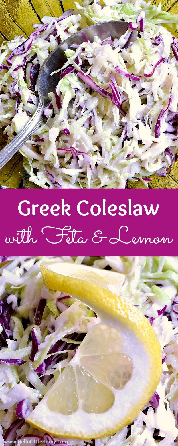 Greek Coleslaw recipe with Feta and Lemon ... a delicious side dish for any summer meal or BBQ! This easy slaw recipe features a tangy greek yogurt dressing bursting with feta and lemon flavors. A healthy, gluten free slaw recipe your whole family will love! | Hello Little Home