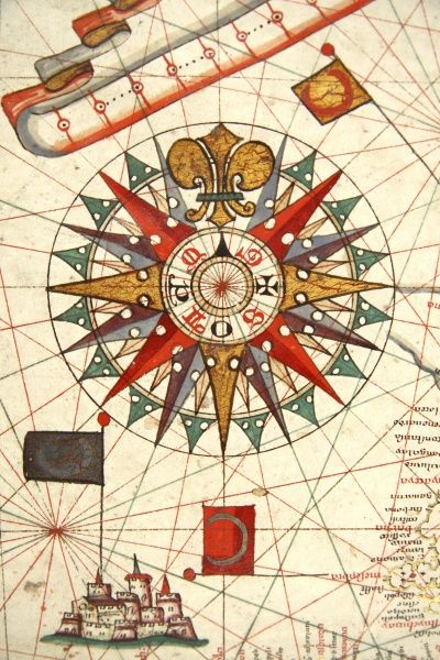 Detail of Rose Compass, from Map of the Black Sea. Ayer MS 21.