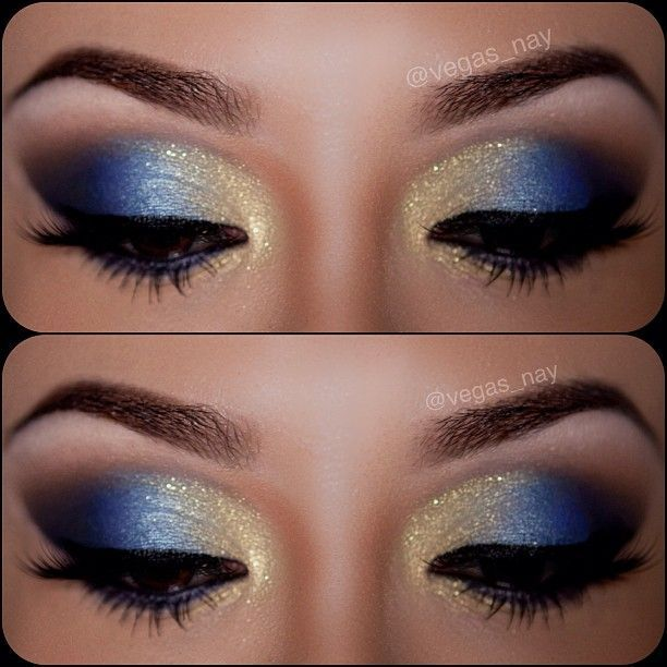 Blue eyes always look so stunning for girls. And it will be more alluring if blended with some gold dust over your eyelids. The blue and gold eye makeup looks are the perfect choice for parties and events.