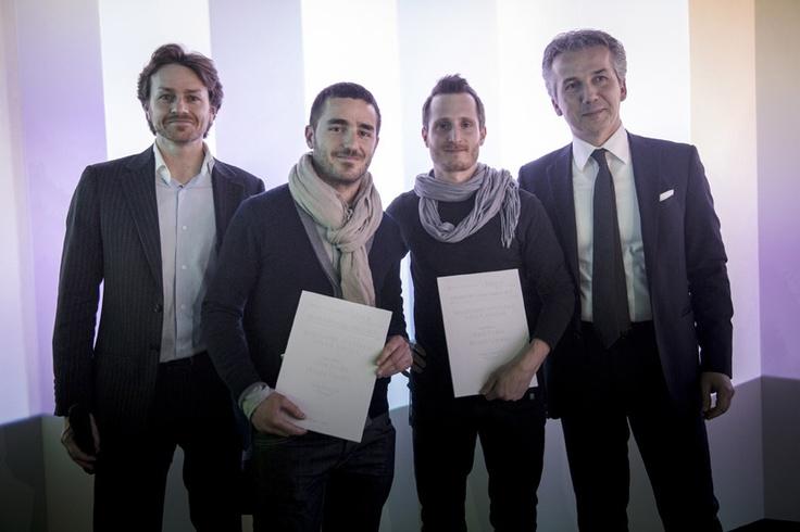 Raul Frollà and Nicola Cerasa with Vittorio Pavarin (Cristlaplant Sales & Marketing Manager) and Luca Fallavena (CEO Falper Ltd.) — SuperStudio Più - via Tortona 27 Milano.
