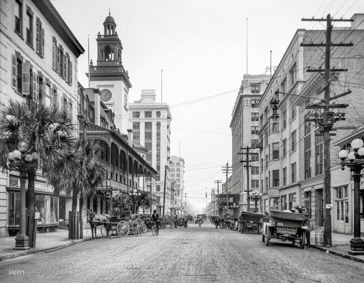 """1910. """"Forsyth Street looking east."""" Our 20th large-format, high-resolution view of Jacksonville, Florida. 8x10 inch dry plate glass negative."""