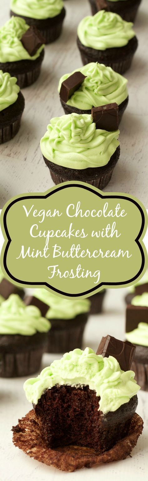 Vegan Chocolate Cupcakes with Mint Buttercream Frosting #vegan #lovingitvegan #dessert #cupcakes