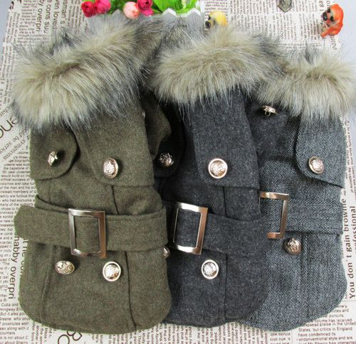 Thick Warm Small Dog Puppy Pet Clothes Apparel Woolen Cloth Outcoat for Winter | eBay