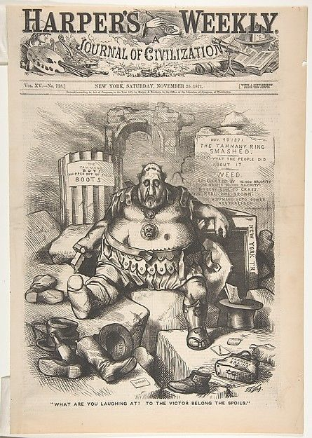 "New York's famously corrupt power broker William M. Tweed is portrayed as a defeated Roman soldier in an image issued just after the election that broke his hold on power. As commissioner of public works, ""Boss Tweed"" had allied himself with cronies collectively known as Tammany Hall after their political headquarters"