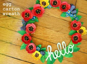 What a stunner! The Recycled Egg Carton Wreath is perfect for both spring and summer.