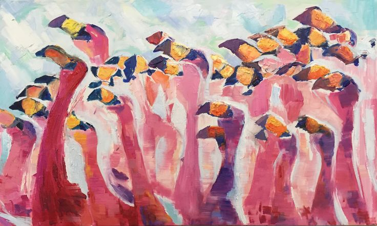 Curious crowd, oil & canvas, art, painting