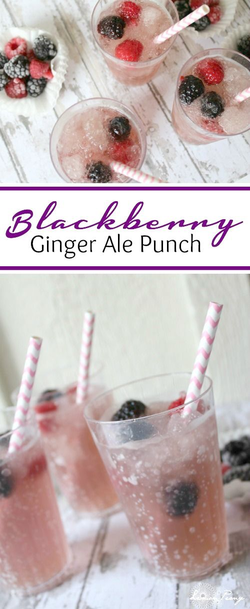 #KeepSpringBubbly with this Spring and Summer Sparkling Blackberry Ginger Ale Punch Recipe! LOVE this Frozen Drink Party Punch Recipe for Showers, or Birthdays! #ad #cbias