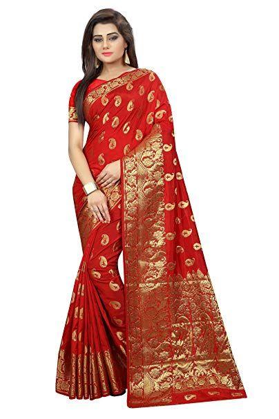 c7766be04b Hinayat Fashion Red Banarasi Silk Saree (Free Size) | Banarasi Saree
