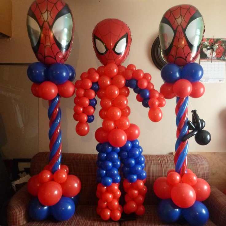 Spiderman party decoration super hero party pinterest for 7 star balloon decoration