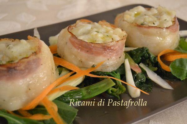 Medaglioni di baccalè e pancetta arrotolata