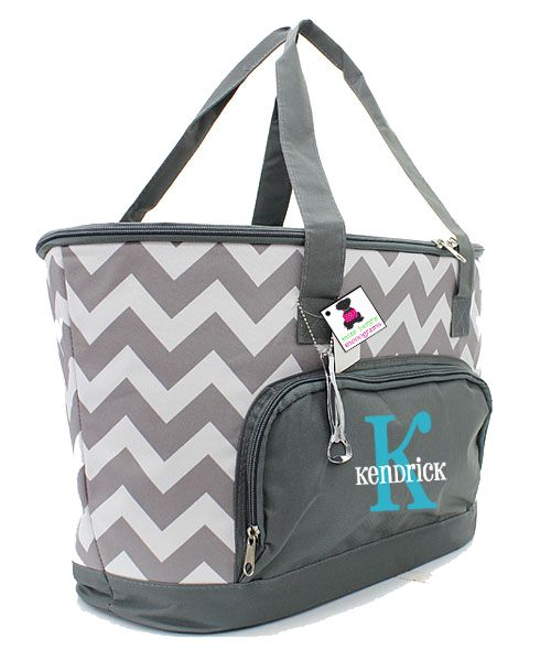 Monogrammed Insulated Cooler Bag Gray White Chevron Miss Lucy S Monogramting The Road With Monograms Pinterest Monogram Bags And Gifts