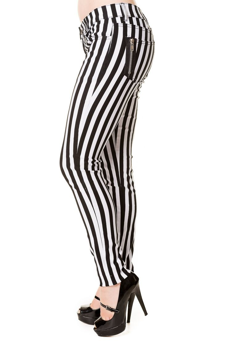 Banned Apparel Punk Goth Steampunk Striped Skinny Jeans