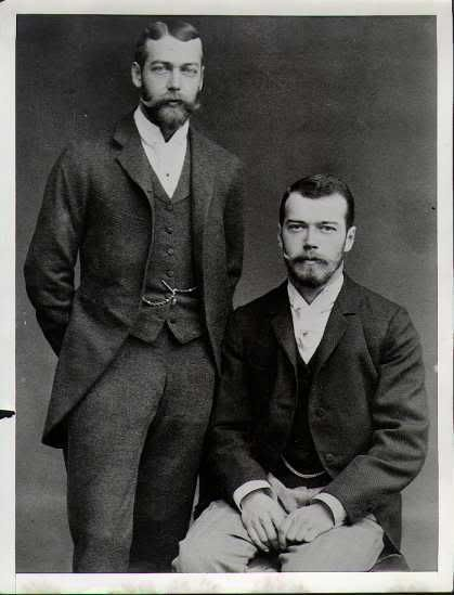 Fine looking young men, cousins... King George V of Britain and Tsar Nicholas II of Russia. Their mothers were sisters, both from Denmark.