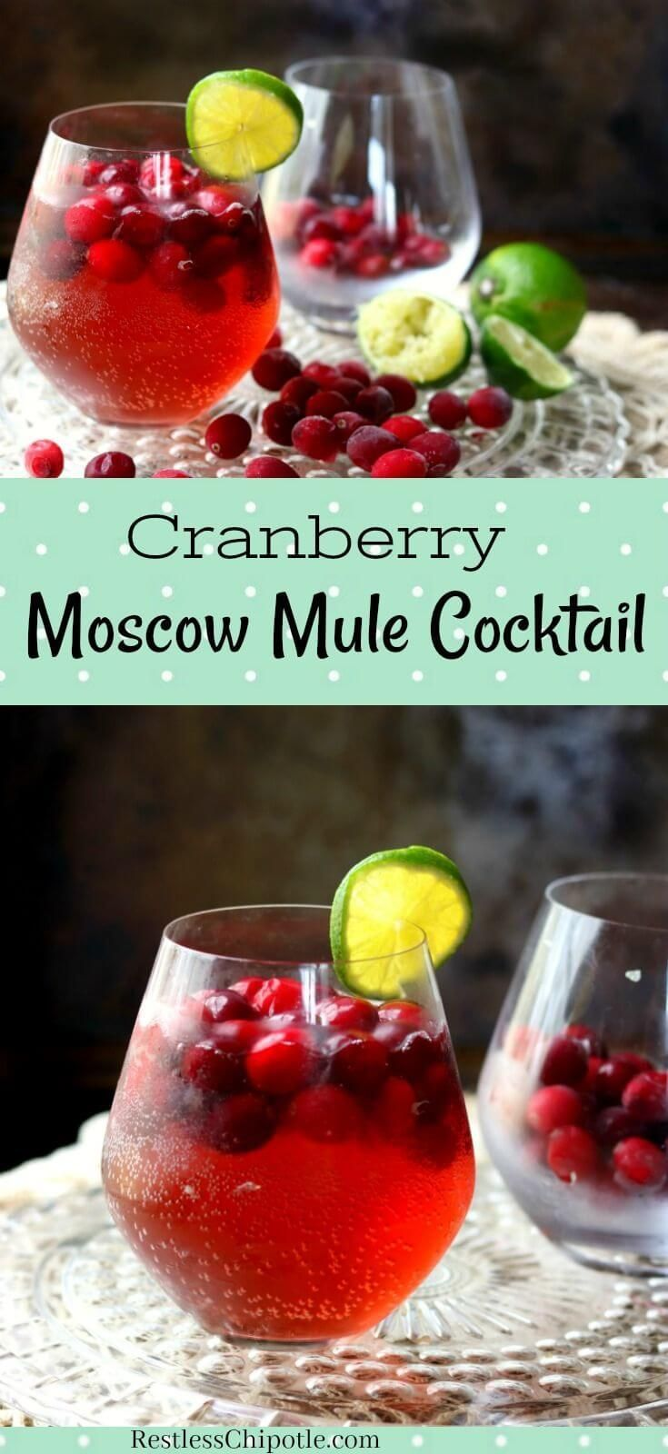 The cranberry Moscow mule is a seasonal twist on the ever popular Moscow Mule. Orange vodka and cranberries give this vodka cocktail plenty of holiday flavor and festive color. #SundaySupper #vodkacocktail #wintercocktail  via @Marye at Restless Chipotle