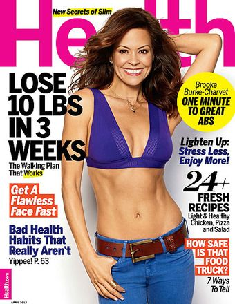 Brooke Burke-Charvet covers #Health Magazine April 2013 and comments on Aging: 'The 40s Are a Reality Check' #Health.  She looks awsome!