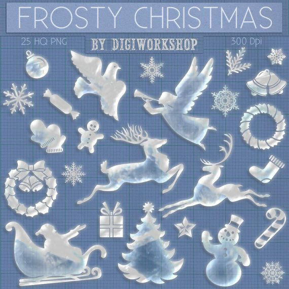 """Merry Christmas Clipart Xmas Clip Art """"Frosty Christmas""""  set contains x-mas ice figures for any winter holiday and other creative projects"""