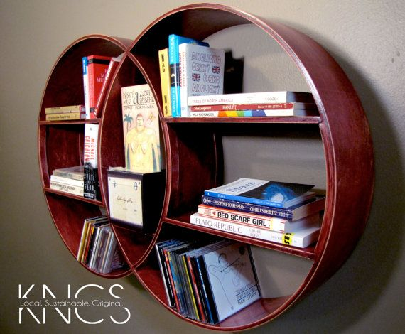 Red Stained DECO Wooden Round Shelf Home Decor By KNCustomShelving Tara:  Interesting Shelves Made Stateside