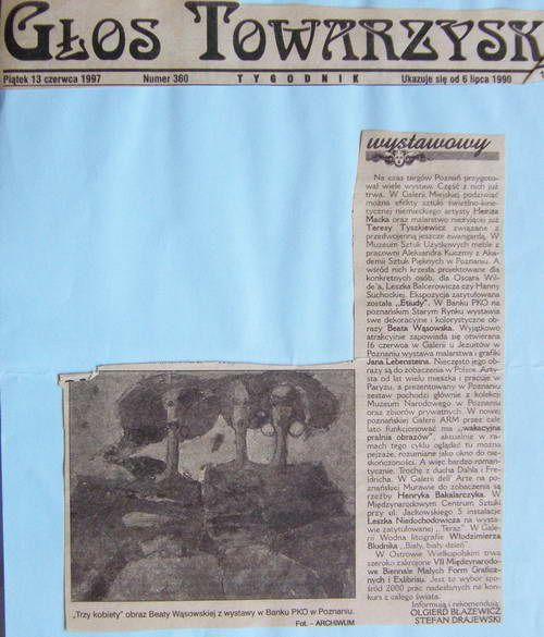 Głos Towarzyski | 13.06.97 | Olgierd Błażewicz, Stefan Drajewski | Poznań | malarstwo Beaty Wąsowskiej