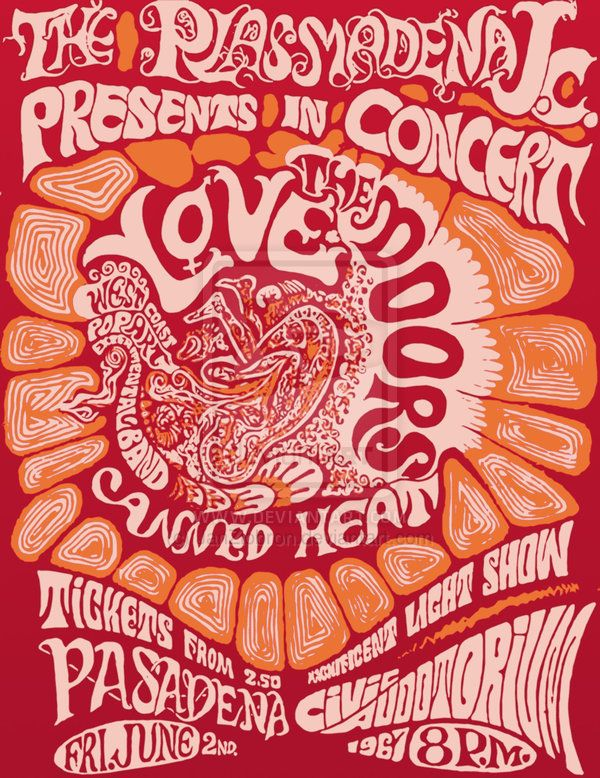 The Doors / Love / Canned Heat / West Coast Pop Art Experimental Band - Concert Poster (1967) - (Civic Auditorium, Pasadena, California, Friday June 2, 1967)