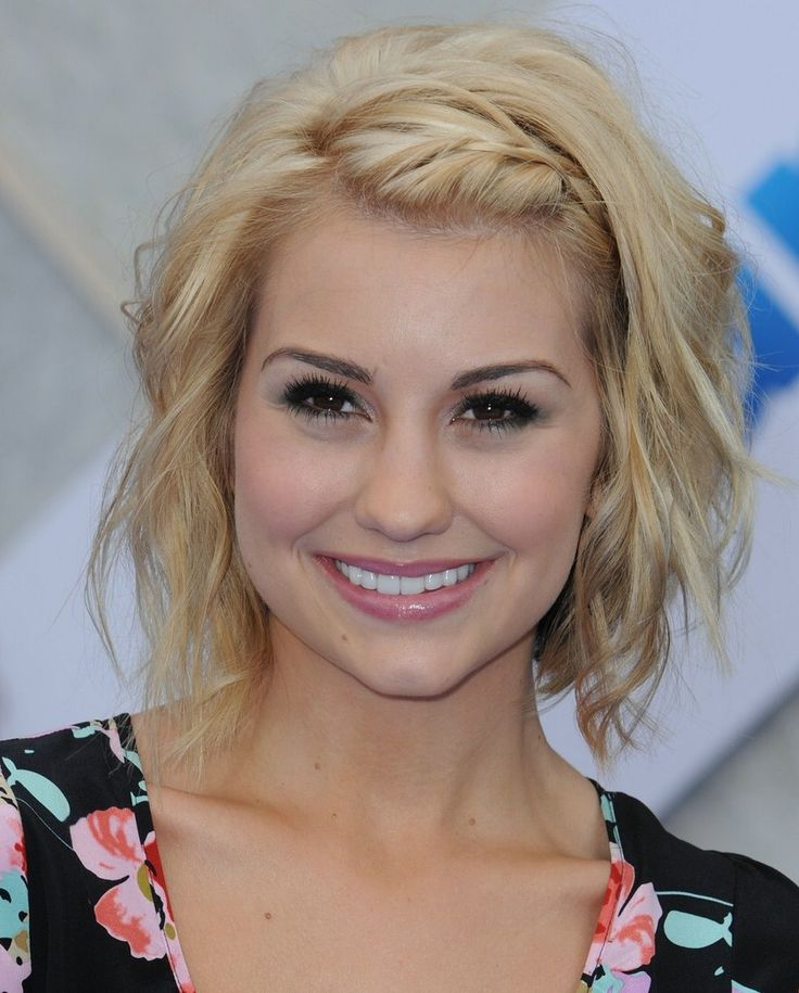 wavy bob with braided side bangs... If I ever went short! This would be it!! So cute!!